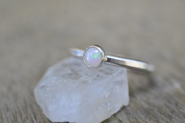 Natural White Opal Ring in Sterling Silver