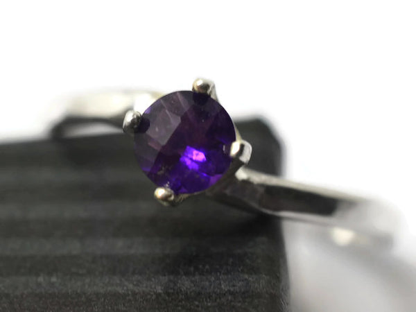 5mm Checkerboard Cut African Amethyst Ring in Silver