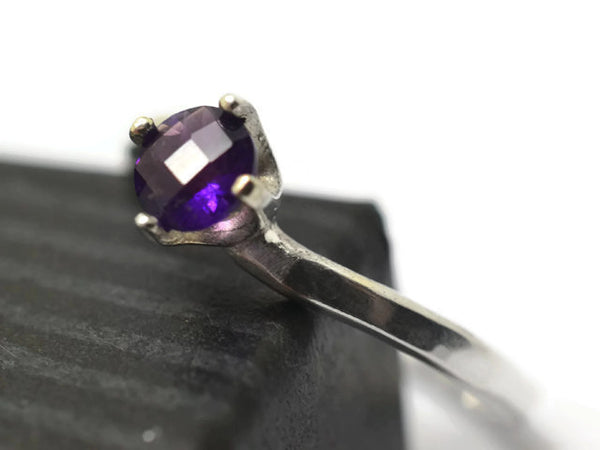 African Amethyst Engagement Ring in Sterling Silver