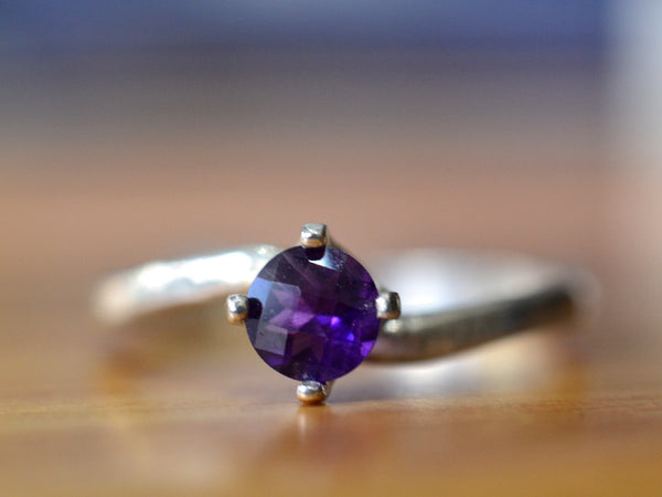Sterling Silver 5mm African Amethyst Solitaire Engagement Ring