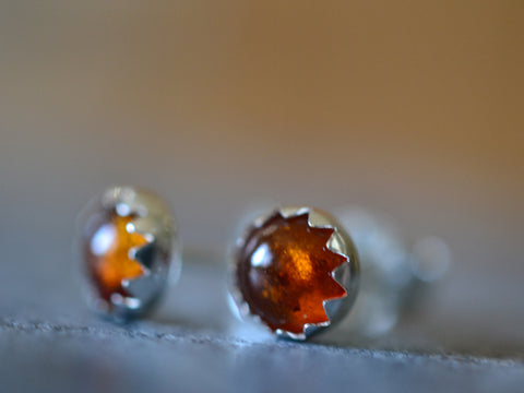Simple Round Baltic Amber Cabochon Post Earrings in Silver