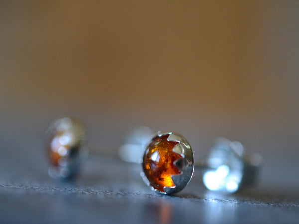 Handmade Natural Baltic Amber Post Earrings in Sterling Silver