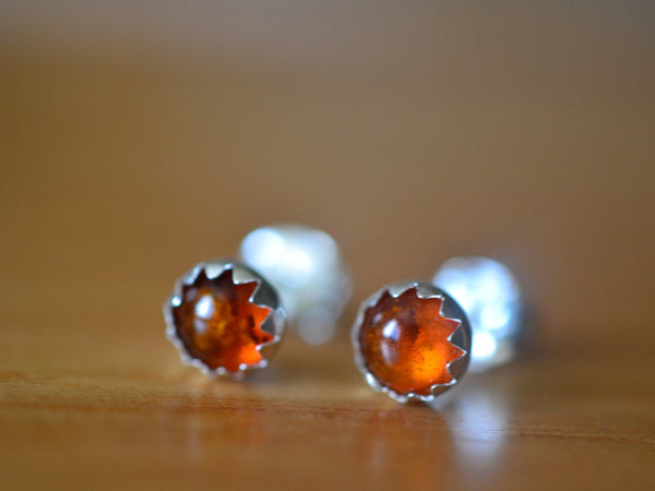 Dainty 5mm Round Baltic Amber Cabochon Earrings in Sterling