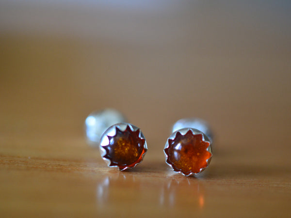 5mm Round Baltic Amber Studs in Sterling Silver Bezels