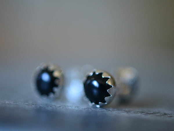 Simple Sterling Silver Bezel Set Black Onyx Crystal Cabochon Studs