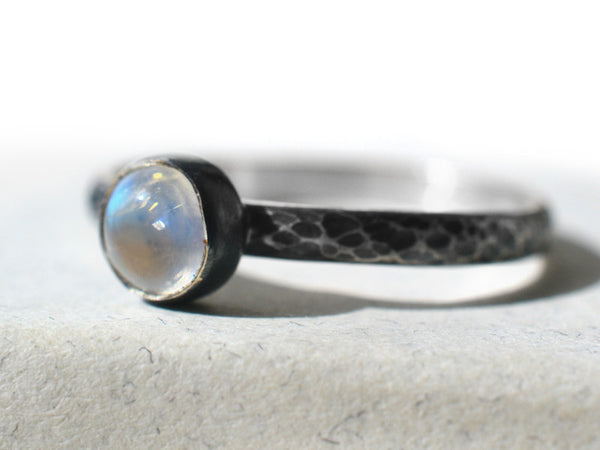Antiqued Silver & Blue Moonstone Promise Ring