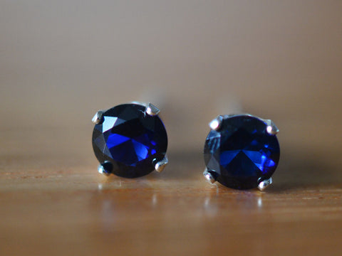 5mm Blue Sapphire Earrings in Sterling Silver