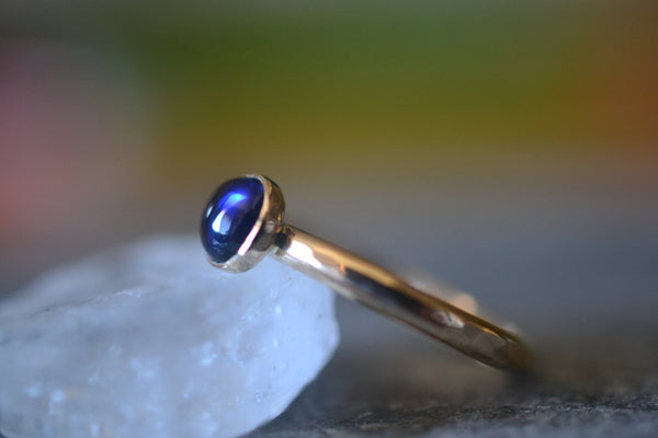 Blue Sapphire Cabochon Ring in Recycled 14K Yellow Gold