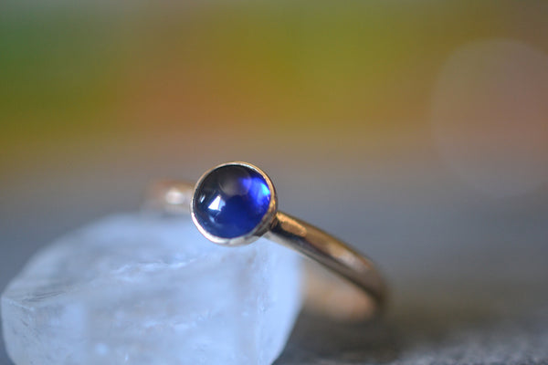 Women's Blue Sapphire Promise Ring in 14K Yellow Gold