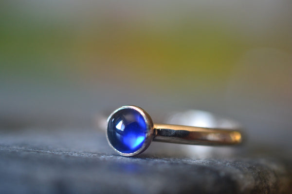 Lab Created Sapphire Engagement Ring in 14K Yellow Gold