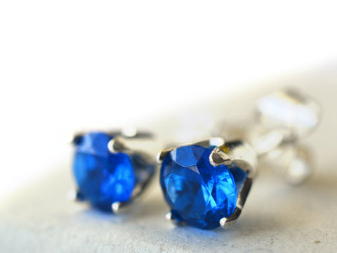 Sterling Silver & Blue Spinel Post Earrings
