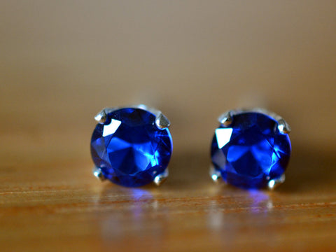 5mm Blue Spinel Earrings in Sterling Silver