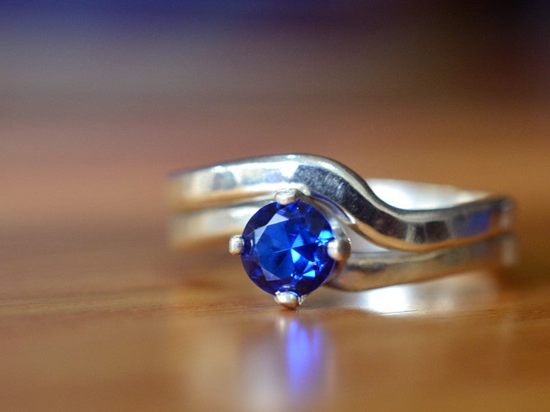 5mm Blue Spinel Engagement Ring & Curved Silver Wedding Band