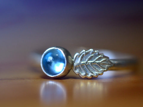 Handmade Blue Topaz Berry & Sterling Silver Leaf Ring