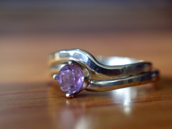 Brazilian Amethyst Wedding Set in Sterling Silver