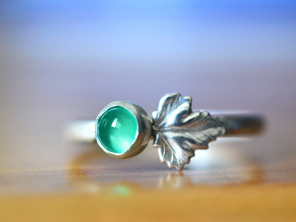 Handmade Sterling Silver Leaf & 5mm Emerald Ring