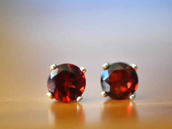 Handmade Red Garnet Post Earrings in Silver