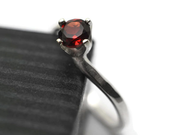 Natural Red Garnet Engagement Ring in Curved Sterling Silver