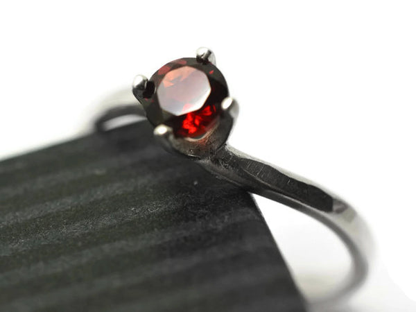 Minimalist Silver & Red Garnet Engagement Ring