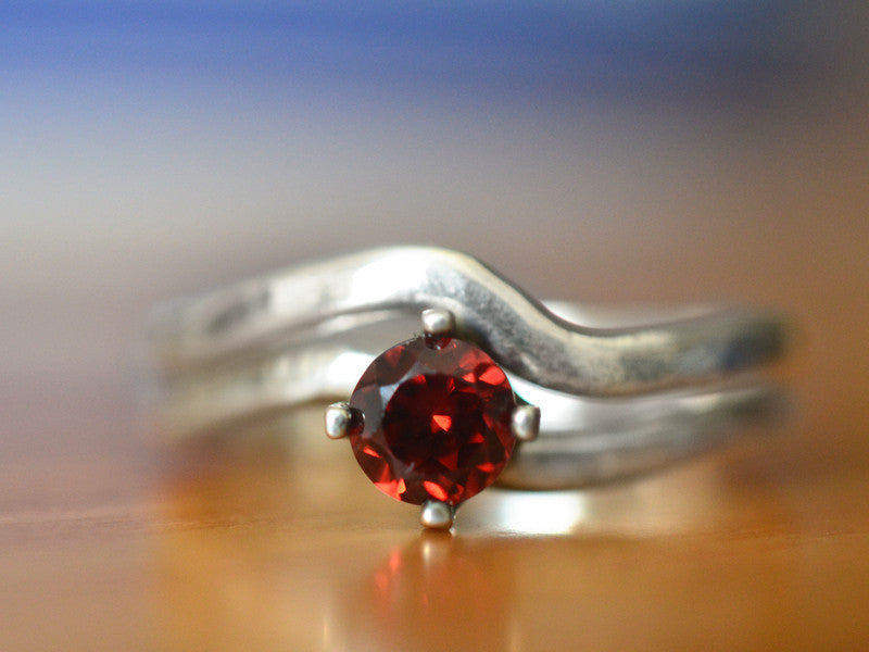 Simple Sterling Silver & Red Garnet Bridal Ring Set