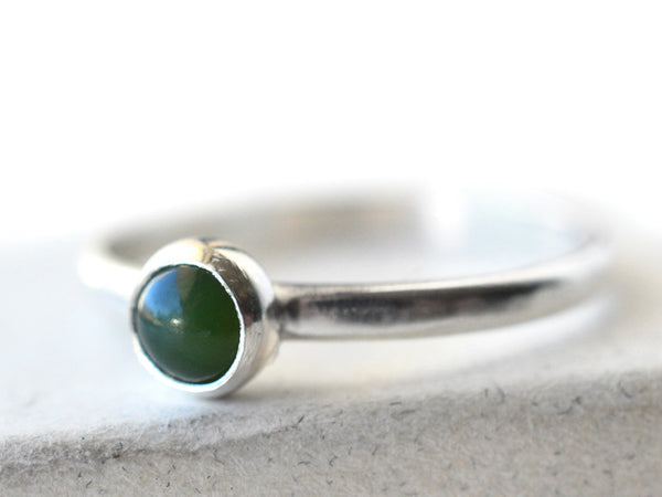 Simple Sterling Silver 5mm Nephrite Jade Stacking Ring
