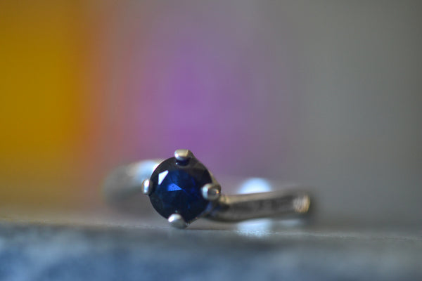 Simple Lab Created Blue Sapphire Solitaire Engagement Ring