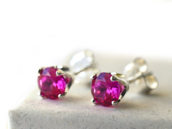 5mm Ruby Post Earrings in Sterling Silver