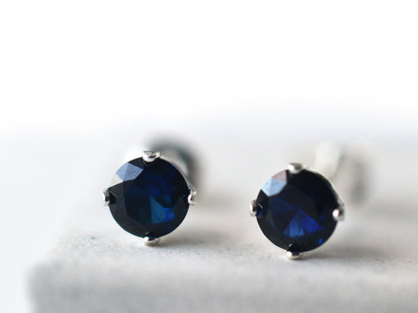 5mm Blue Sapphire Studs in Sterling Silver