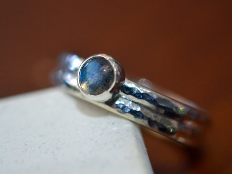 Handmade Simple Sterling Silver Labradorite Bridal Ring Set