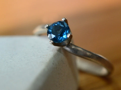 5mm London Blue Topaz Solitaire Engagement Ring in Silver