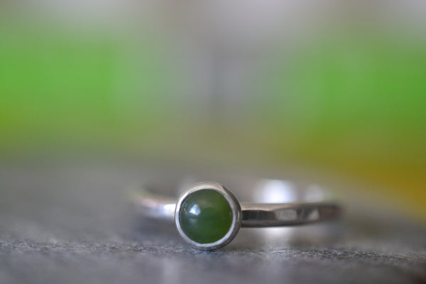 Dainty 5mm Nephrite Jade Gemstone Stack Ring in Sterling Silver