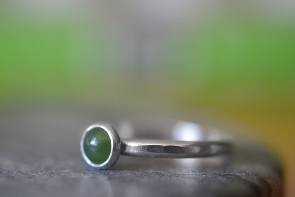Simple Bezel Set 5mm Nephrite Jade Ring in Sterling Silver