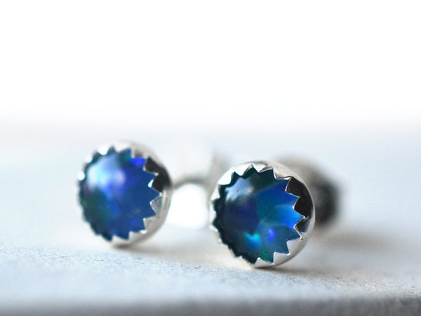 5mm Australian Opal Triplet Stud Earrings in Silver