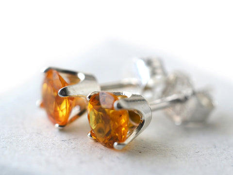 5mm Orange Sapphire Post Earrings in Sterling Silver