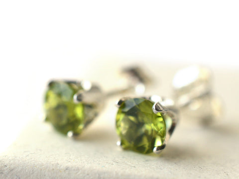 Dainty Peridot Stud Earrings in Sterling Silver