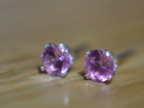 5mm Pink Sapphire Earrings in Sterling Silver
