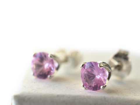 5mm Pink Sapphire Post Earrings in Sterling Silver