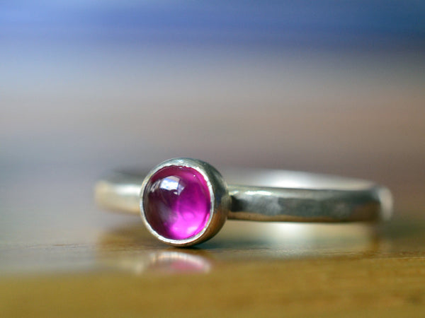 Handmade Sterling Silver 5mm Pink Tourmaline Stack Ring