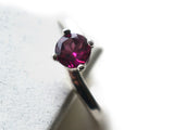 Offset 5mm Purple Rhodolite Garnet Solitaire Ring