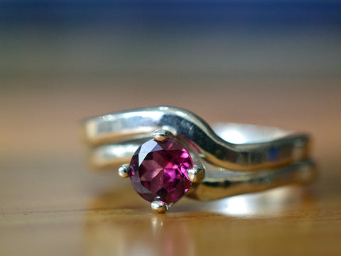 Rhodolite Garnet Engagement Ring & Wavy Silver Wedding Band