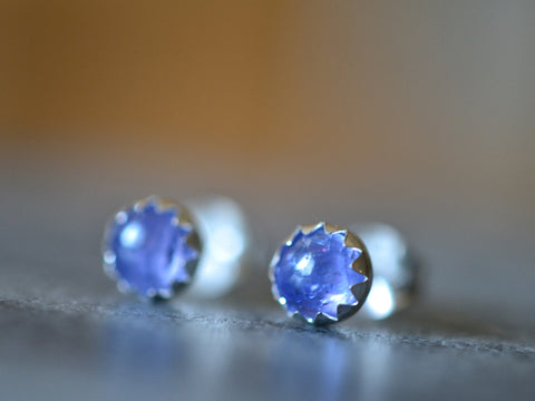 Simple Tanzanite Cabochon Post Earrings in Sterling Silver