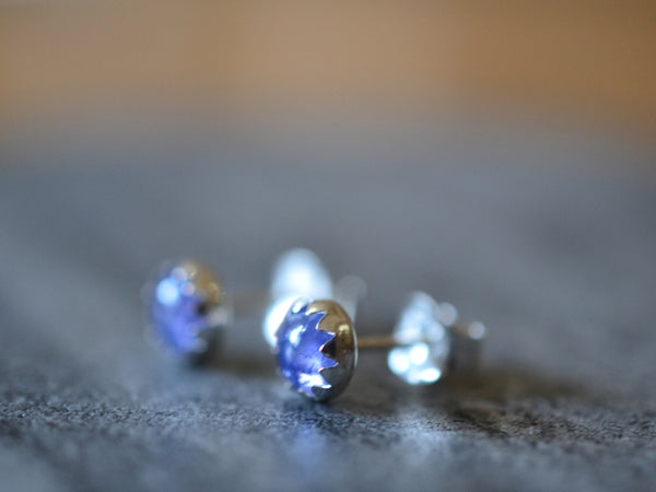 Handmade 5mm Round Tanzanite Studs in Sterling Silver