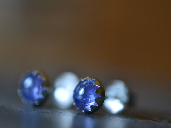 Dainty Little Tanzanite Post Earrings in Sterling Silver
