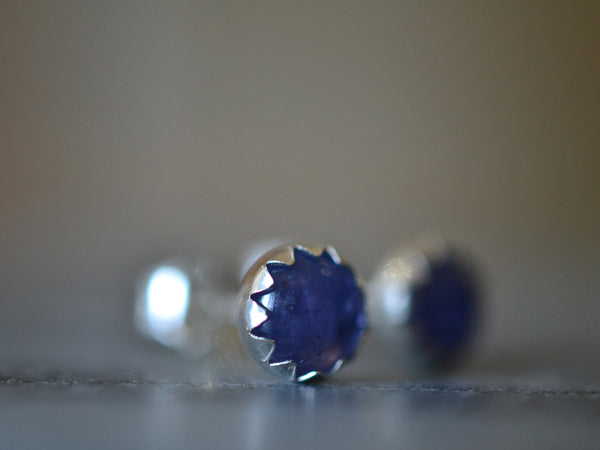 Minimalist Sterling Silver Bezel Set Tanzanite Stud Earrings