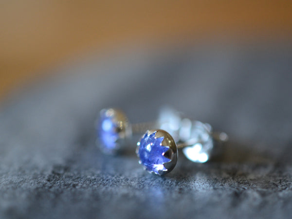 Simple Sterling Silver & 5mm Tanzanite Post Earrings