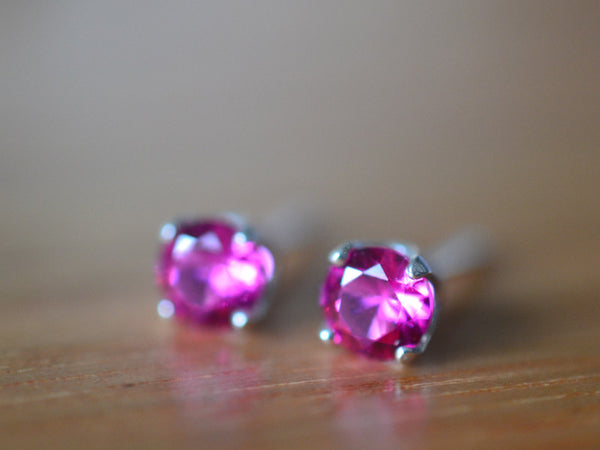 5mm Ruby Stud Earrings in Sterling Silver
