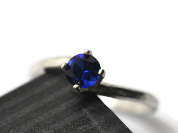 Minimalist Sterling Silver & 5mm Blue Sapphire Engagement Ring