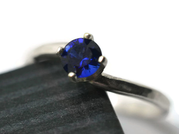 Wavy Sterling Silver 5mm Blue Sapphire Engagement Ring