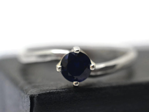Simple Sterling Silver & 5mm Blue Sapphire Solitaire Ring