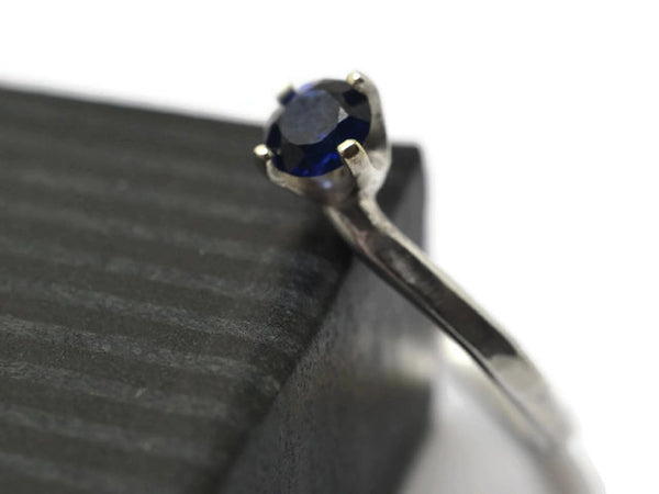 Sterling Silver & Lab Grown Blue Sapphire Solitaire Ring
